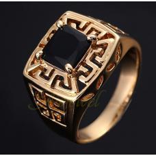 Мужское кольцо черный камень