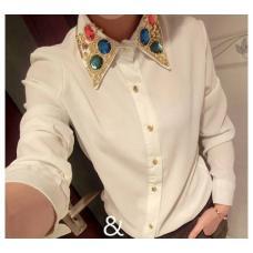 Блузка с отделкой камнями на воротнике, женская рубашка, шифонова блузка