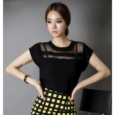 Шифоновая летняя женская блузка короткий рукав