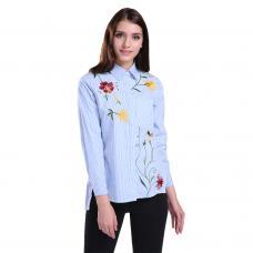 Модная полосатая рубашка с вышивкой