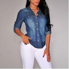 Джинсовая рубашка с длинным рукавом