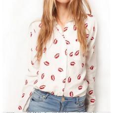 Рубашка женская шифоновая поцелуй