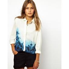 Блуза-рубашка шифон Голубой цветок
