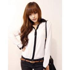 Шифоновая рубашка черный и белый
