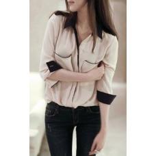 Женская шифоновая рубашка с длинным рукавом