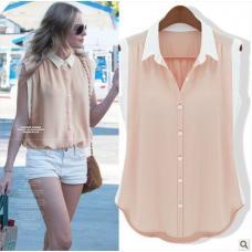 Шифоновая блуза, женская блузка без рукавов