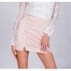 Замшевая юбка высокая талия
