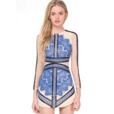Платье короткое синие кружево