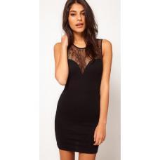 Платье с кружевной отделкой, короткое платье, черное платье, платье гипюровое, плаття