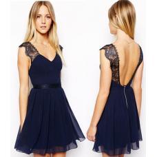 Шифоновое вечернее платье с кружевом и открытой спиной