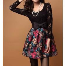 Платье с бантиком, платье женское, платье цветы, кружевное платье, плаття