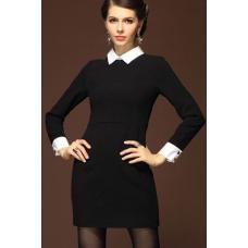 Платье  черное с белым воротничком, классическое платье, черное платье, класичне плаття