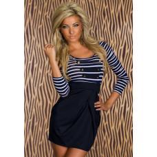 Платье в полоску, платье моряк, короткое платье, жіноче плаття
