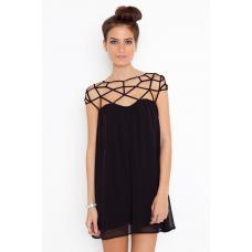 Платье черное короткое - сетка