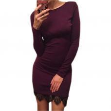 Теплое платье с кружевом разные цвета