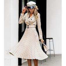 Женское платье в клетку / платье с плиссированной юбкой