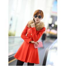 Шерстяное женское пальто мех