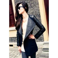 Женское шерстяное пальто рукав с искусственной кожы
