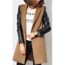 Женское кашемировое пальто рукава кожа