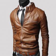 Мужская кожанная куртка осень - весна, искусственная кожа, воротник стойка, чоловіча куртка
