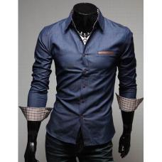 Мужская классическая рубашка с манжетом в полоску